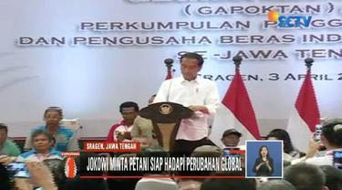Presiden Jokowi tawarkan pinjaman bank untuk petani di Sragen, Jawa Tengah, agar bisa miliki alat penggilingan sendiri.