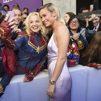 Brie Larson dalam penayangan perdana Avengers: Endgame di Los Angeles  Convention Center Senin, 22 April 2019. (Chris Pizzello/Invision/AP)