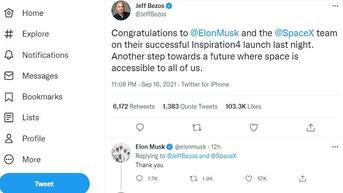 Inspiration4 Sukses Meluncur, Elon Musk dan SpaceX Dapat Ucapan Selamat dari Jeff Bezos