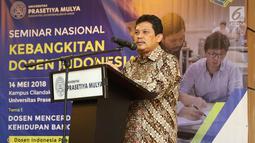 Direktur Jenderal Sumber Daya IPTEK Dikti Ali Ghufron Mukti memberi pemaparan dalam Seminar Kebangkitan Dosen Indonesia di Jakarta, Senin (14/5). Seminar membahas enam topik utama. (Liputan6.com/Immanuel Antonius)