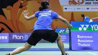 Aksi Gregoria Mariska Tunjung pada perempat final Thailand Masters 2020, Jumat (24/1/2020). (PBSI)