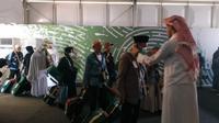 Jemaah haji Indonesia dilayani dengan jalur cepat Eyab di Bandara King Abdulaziz, Jeddah. Nurmayanti/Liputan6.com