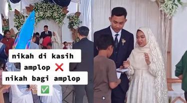 Viral Aksi Pengantin Bagi-bagi Amplop di Hari Pernikahannya, Bikin Salut