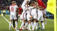 Timnas Spanyol takluk 1-2 saat bersua Maroko dalam pertandingan ketiga Grup B, di Stadion Kaliningrad, Selasa (26/6/2018) dini hari WIB. (AP/Petr David Josek)