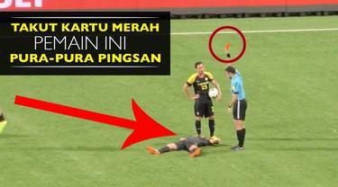 Video pemain Ceres FC klub asal Singapura pura-pura pingsan usai dapat kartu kuning ke dua saat melawan Tampines Rovers FC di Singapura Cup, Rabu (24/8/2016).