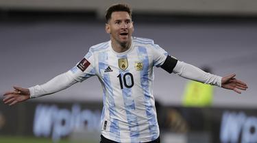 Kemenangan Argentina atas Bolivia di laga lanjutan kualifikasi Piala Dunia 2022 zona Amerika Latin berkat tiga gol yang diciptakan oleh Lionel Messi. (Foto: AFP/Pool/Juan Ignacio Roncoroni)