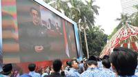 Upacara Peringatan HUT PGRI ke-74 dan Hari Guru Nasional 2019 di Kemendikbud (Liputan6.com/Ady Anugrahadi)