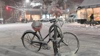 Sebuah sepeda tertutup salju terlihat di Manhattan, New York, Kamis (15/11). Layanan Cuaca Nasional memprediksi hujan salju pertama pada awal musim dingin itu akan mencapai ketebalan 2-4 inci. (Angela Weiss / AFP)