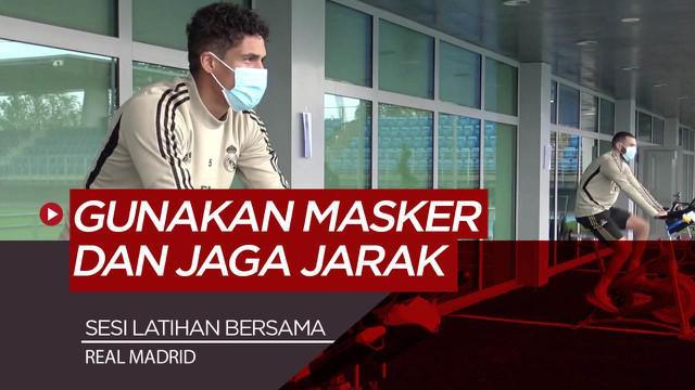 Berita Video patuhi pemerintah, Karim Benzema dan para pemain Real Madrid tetap pakai masker saat sesi latihan
