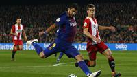Luis Suarez merayakan gol yang dicetak ke gawang Girona. (AP Photo/Manu Fernandez)