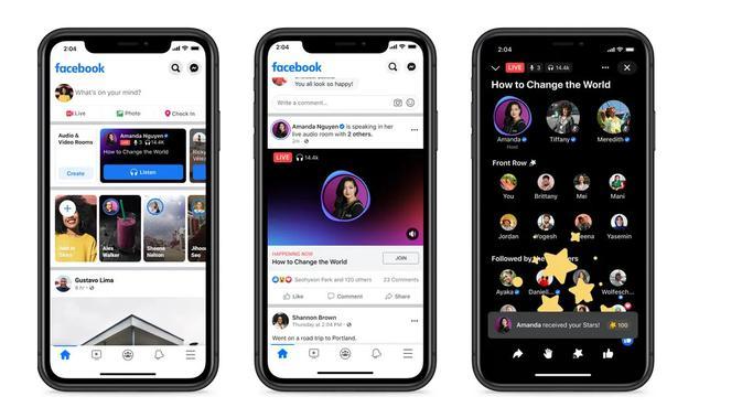 Facebook merilis Live Audio Rooms, layanan berbasis audio mirip Clubhouse untuk pengguna di AS (Foto: Facebook).