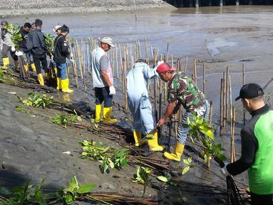 Karyawan dan komunitas menanam 700 pohon mangrove dengan metode cluster untuk memperkuat ekosistem perairan Nusakambangan, Cilacap, Jawa Tengah, (23/4). Kegiatan yang digelar Semen Indonesia dalam rangka memperingati Hari Bumi 2019. (Liputan6.com/Pool/Semen Indonesia)