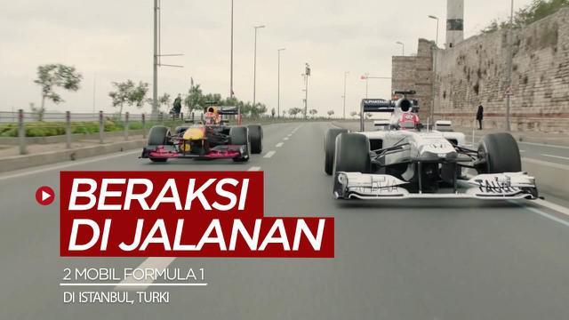 Berita video 2 mobil Formula 1 beraksi di jalanan Istanbul, Turki. Seberapa keren aksi mereka?