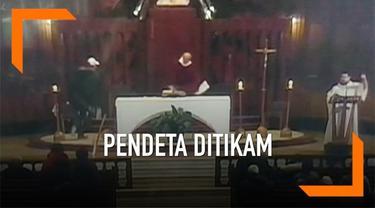 Sebuah rekaman video pendeta ditikam saat misa beredar langsung di tv lokal Kanada.