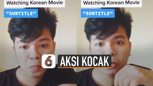 Aksi kocak netizen memang tidak ada yang bisa menebak. Seperti yang dilakukan oleh pria ini ketika memperagakan penonton drakor dengan subtitle.