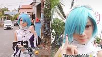 Viral, Seorang Gadis Gunakan Kostum Anime Saat Datang Ke TPS Di Surabaya. Sumber: TikTok/@shinamouri