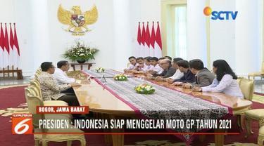 Presiden Jokowi pastikan Moto GP 2021 diselenggarakan di Mandalika, Nusa Tenggara Barat (NTB).