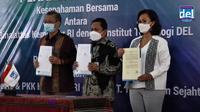 Kementerian Ketenagakerjaan (Kemnaker) melalui Direktorat Jenderal Pembinaan Penempatan Tenaga Kerja dan Perluasan Kesempatan Kerja (Ditjen Binapenta dan PKK) dengan PT. Toba Tenun Sejahtera, untuk pemberdayaan para perajin ulos di Toba, Sumatera Utara (28/1/2021).