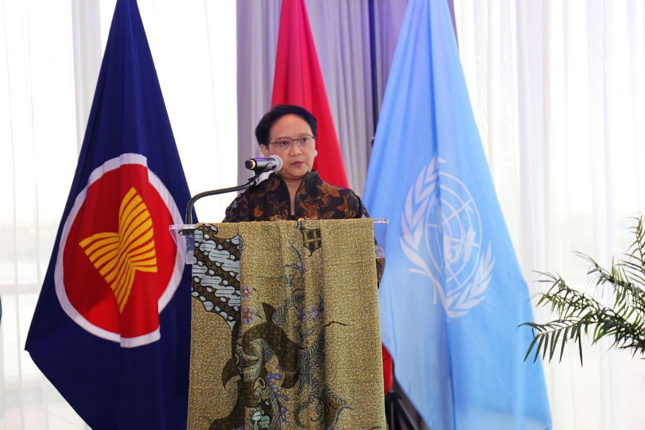 Menteri Luar Negeri RI Retno Marsudi di Markas PBB New York, Amerika Serikat (4/6) (Kementerian Luar Negeri RI)