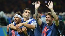 Keberingasan trio MSN berhasil memenangkan gelar Liga Spanyol, Copa del Rey hingga trofi Liga Champions, termasuk treble pada musim 2014-2015. (AFP/Oliver Lang)