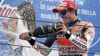 Ketepatan mengganti ban jadi kunci kemenangan Marc Marquez di MotoGP San Marino.