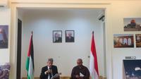 Duta Besar Palestina untuk Indonesia Zubair Alshun dalam konferensi pers peringatan Hari Nakbah(Www.sulawesita.com)