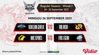 Link Live Streaming MPL Indonesia Season 8 Pekan Ketujuh di Vidio, Minggu 26 September 2021. (Sumber : dok. vidio.com)