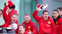 Ekspresi kegembiraan para pemain Manchester United.