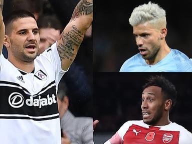 Sergio Aguero masih memuncaki daftar top scorer Premier League hngga pekan ke-13 meski gagal mencetak gol di pertandingan terakhir. (Kolase foto AFP)