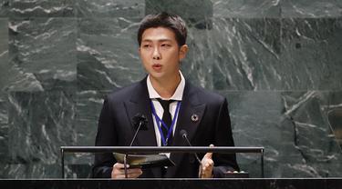 RM BTS di Sidang Umum PBB 2021, (John Angelillo/Pool Photo via AP)