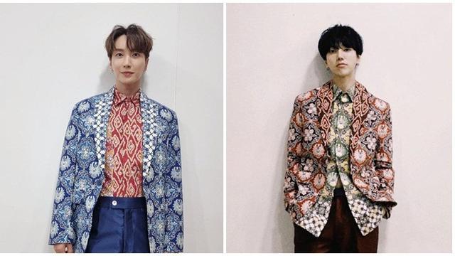 6 Potret Leeteuk dan Yesung Super Junior Pakai Batik Rancangan Ridwan Kamil,  Curi Perhatian - Hot Liputan6.com
