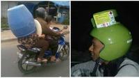 Potret Helm Pengendara Dari Alat Rumah Tangga Ini Bikin Tepuk Jidat (sumber:Instagram/Receh.id)