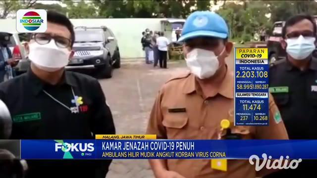 Angka kematian karena Covid-19 di Kota Malang melonjak tajam, sehingga kamar jenazah RSUD Malang penuh dan sangat kewalahan.