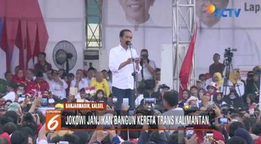 Kampanye di Banjarmasin, Kalimantan Selatan, Jokowi janji akan bangun keretaTrans-Kalimantan.