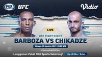 Link Live Streaming UFC Fight Night : Barboza vs Chikadze Pekan Ini di Vidio, Minggu 29 Agustus 2021. (Sumber : dok. vidio.com)