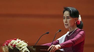 Pemimpin de facto Myanmar Aung San Suu Kyi pada Selasa 19 September 2017 akhirnya bicara ke dunia soal krisis di Rakhine yang memicu eksodus massal warga Rohingya ke Bangladesh