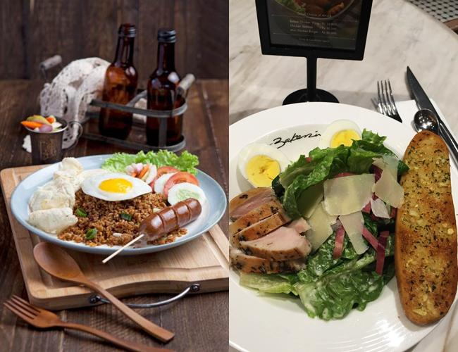 Caesar salad (kanan) dan Fried rice (kiri)/ copyright by Vemale.com