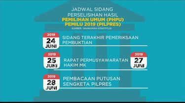 Mahkamah Konstitusi akan gelar sidang sengketa Pilpres 2019 mulai tanggal 14 hingga 28 Juni.