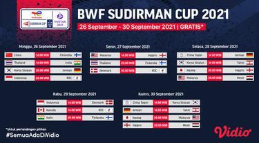 Jadwal & Link Live Streaming Piala Sudirman Cup 2021