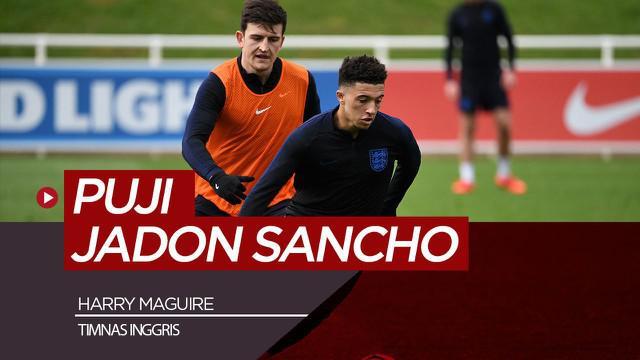 Berita video wawancara singkat dengan bek Timnas Inggris dan Manchester United, Harry Maguire tentang Jadon Sancho