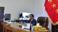 Wakil Menteri Pertahanan (Wamenhan) Letjen TNI Herindra saat menjadi pembicara secara daring. (Foto: Biro Humas Setjen Kemhan).