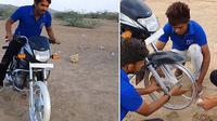 Ban motor diganti lakban (Facebook/Peristiwa Dunia)