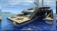 Kapal trimaran berukuran sepanjang 85 meter memiliki tata ruang yang terbuka dan sejumlah fasilitas luar biasa. (superyachtworld.com)