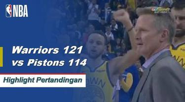 Stephen Curry mencetak 26 poin ketika Warriors mendapatkan kemenangan atas Pistons 121-114