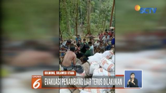 Evakuasi penambang emas tanpa izin yang jadi korban longsor masih terus dilakukan tim gabungan.