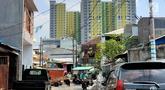 Pemandangan proyek Rusunawa Pasar Rumput yang hampir selesai pengerjaannya di Jakarta, Selasa (16/7/2019). Proyek yang dimulai sejak 2016 lalu tersebut memiliki 1.984 unit hunian serta 1.314 kios. (Liputan6.com/Immanuel Antonius)