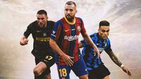 Ilustrasi - Milan Skriniar, Jordi Alba, Lautaro Martinez (Bola.com/Adreanus Titus)