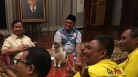 Prabowo  menerima rombongan dari GoPrabu ditemani Bobi, kucing Kertanegara 4, tentang BUMN hingga impor pangan. (dok. Instagram @prabowo/Dinny Mutiah)