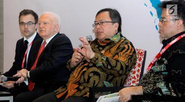 Menteri PPN / Kepala Bappenas, Bambang Brodjonegoro memberikan paparan pada IDF 2018 yang mengusung tema Terobosan untuk Mengatasi Kesenjangan Antar Wilayah di Seluruh Nusantara.di Jakarta, Selasa (10/7).(Liputan6.com/HO/Bappenas)