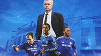 Chelsea - Jose Mourinho, Arjen Robben, Ricardo Carvalho, Didier Drogba (Bola.com/Adreanus Titus)